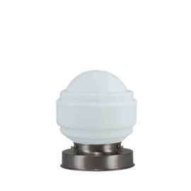 Getrapte tafellamp model blok mat nikkel met opaal kap Sonate 15cm nr 7Tp1-477.00