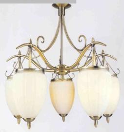 Retro hanglamp antiek messing met 5 druppelvormige glazen nr:20363/5