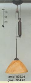 Katrollamp 1 staafgewicht pendelbaar 1 tot 2 mtr donker brons calimero marmer 35cm nr 802.03