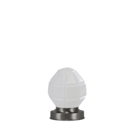Getrapte tafellamp model blok mat nikkel met opaal kap Granaat 15cm nr 7Tp1-136.00