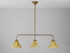 T-lamp 80cm breed antiek messing met gemarmerde kelkkappen nr 915.04