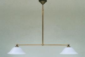 T-lamp 80cm breed antiek messing met opaal witte kardinaals kappen nr 904.04