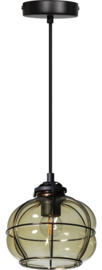 Hanglamp smokey venice kap d17,5cm h15,5cm zwart/glas nr 05-HL4435-3065