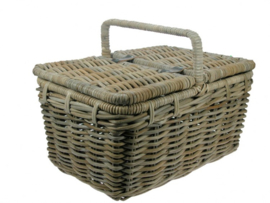 Traditionele picknick mand handgevlochten met deksels 50x35x25cm nr 900010