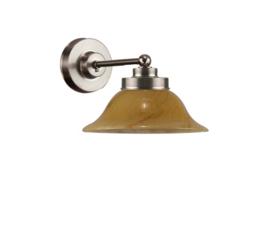 Wandlamp wand mini mat nikkel donker marmer kapje model Hoedkap nr 7WM-520.20