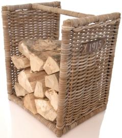 Handgevlochten houtmand met draag hengsel 50cm hoog naturel nr 901524