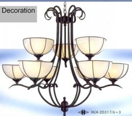 Mat zwarte hanglamp met 9 coupe glazen nr:20317/6+3