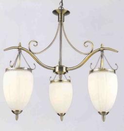 Retro hanglamp antiek messing met druppelvormige glazen nr:20363/3