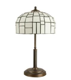 Tafellamp oud bruin h50cm E27 60w met tiffany iglo kap wit d27cm nr 2T50-ph2