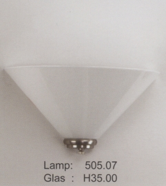 Wandlamp halve dak 35cm met mat nikkel ophanging nr H35.00