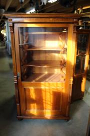 1-deurs glaskast 1900-1920 eikenhout origineel binnenwerk nr 11026