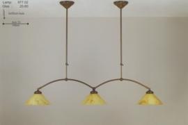 T-lamp dubbele boog br-100cm midden bruin gemarmerde dakkap nr 977.02