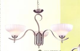Mat nikkel hanglamp met 3 glazen coupes nr:20301/3