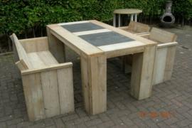 Steigerhouten tuinset met hardsteen 180cm bank en twee stoelen