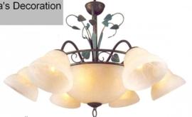 Bronskleurige hanglamp 9-lichts nr:20338/6+3