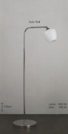 Vloerlamp lees vast nikkel glans met opaal wit cognac glas kap nr 1305.06