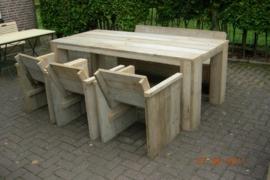 Steigerhouten tuinset 220cm met 3 stoelen en een bank