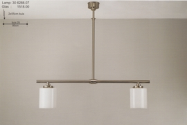 T-lamp 2-L 80cm breed mat nikkel met opaal witte buis bol nr 306288.07
