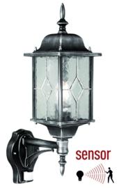 Buitenlamp wand sensor bewegingsmelder zwart-zilver h 53cm nr 2089 S