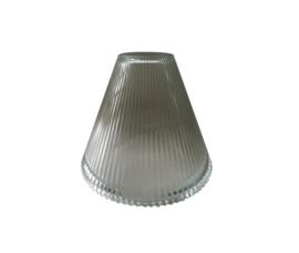 Industrieel glas trechter E27 d17,5cm h13,5cm helder ribbel nr 18.11