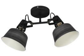 Opbouwspot Twin 2-l zwart grijs E27 h-23cm br-37cm nr 05-SP2276-3036