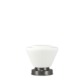 Getrapte tafellamp model blok mat nikkel met opaal kap Japan 20cm nr 7Tp1-470.00