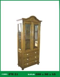 Smalle grenen vitrinekast nieuw gemaakt van oud hout n: 21