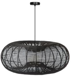 Hanglamp showmodel Cosmo rope d70cm h110cm zwart touw 1xE27 nr 05-HL4466-70-30S