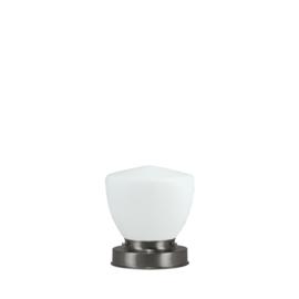 Getrapte tafellamp model blok mat nikkel met opaal kap Schoolbol 15cm nr 7Tp1-476.00