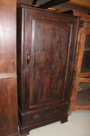 Antieke 1-deurskast koloniaal met houten greep omstreeks 1910 nr 10004