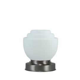 Getrapte tafellamp model blok mat nikkel met opaal kap Boltrap 15cm nr 7Tp1-460.00