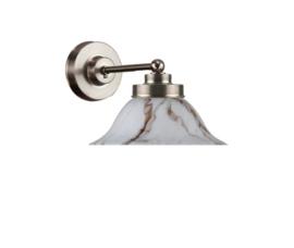 Wandlamp wand mini mat nikkel opaal marmer kapje model Hoedkap nr 7WM-520.10