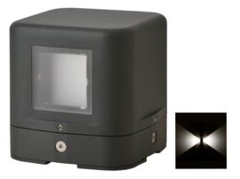 Buitenlamp sokkel serie Kubs d12cm 2 zijden 4W LED grafiet nr 404.012/2