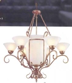 Schaallamp kasteelserie met bokaal glas en kapjes nr:20413/6+3
