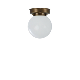 Plafonniere glazen bol Bol 15cm opaal met oud messing ophanging nr 4P1-1500.00