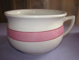 Witte po, pispot of nachtspiegel met roze rand.