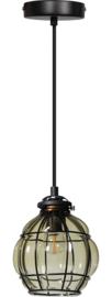 Hanglamp smokey venice kap d13cm h16,5cm zwart/glas nr 05-HL4432-3065