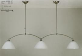T-lamp 3-lichts 2 boog br-140cm mat nikkel opaal calimero kap nr 50981.07