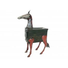 handgemaakt paard van patronen kist eb oud ijzer blik h64cm nr 3106