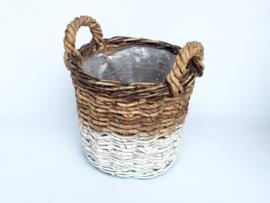 Bloemenmand Basket cilinder M ABACA natural white d-35cm nr 800869A