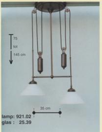 Katrollamp smal 2-lichts 2-staafgewichten midden bruin dakkap mat opaal 25cm nr 921.02