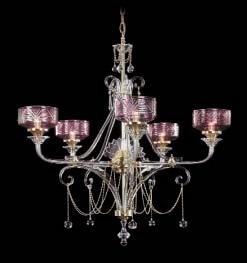 Boheems kristallen luchter met 5 lichtpunten nr 12 5447 005 0880