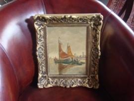 Oud schilderij  met  zeilschepen.  VERKOCHT
