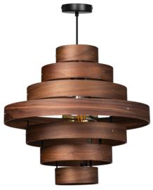 Hanglamp Showmodel walnoot houten ringen E27 7-rings d50cm nr 05-HL4453-77S