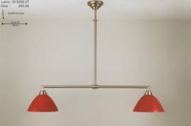 T-lamp trap 2-L br-90cm mat nikkel met opaal rode calimero kap nr 308296.07