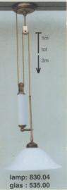 Katrollamp 1 glasstaaf pendelbaar 1 tot 2 mtr oud messing hoedkap opaal 35cm nr 830.04