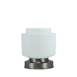 Getrapte tafellamp model blok mat nikkel met opaal kap Stop 15cm nr 7Tp1-463.00