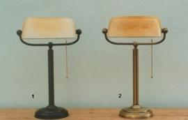 burolamp bankiersglas champagne mat en vaste voet bronskleur (nr 1 op foto)