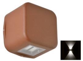 Buitenlamp wand serie Kubs 2 zijden 4W LED roestbruin nr 404.0014/2