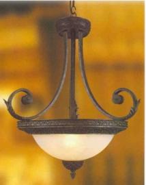 Antiek bruin gekleurde schaallamp 3-lichts nr:20331/3H
